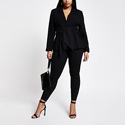 Plus black tie waist blazer