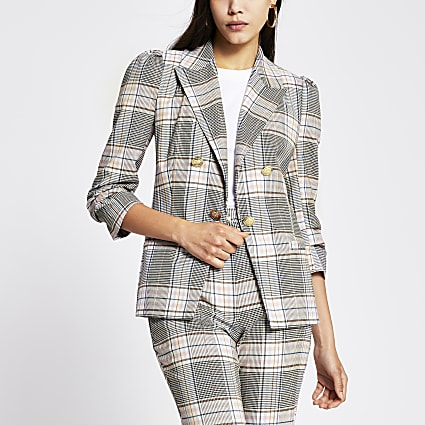Light pink check puff sleeve blazer
