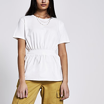White shirred waist T-shirt