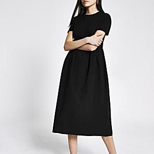 Zwarte poplin maxi-T-shirtjurk met korte mouwen
