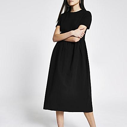 Black short sleeve poplin maxi T-shirt dress