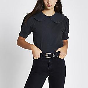Black short puff sleeve collar T-shirt