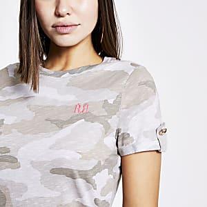 Grijze RVR T-shirt met camouflage print en korte mouwen