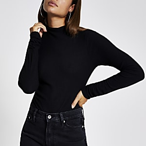 Black grown on high neck ribbed top
