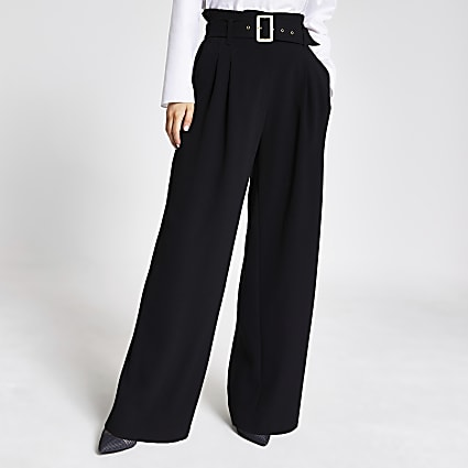 Petite black belted wide leg trousers