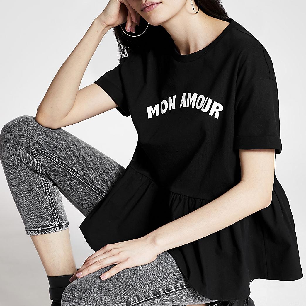 T-shirt péplum noir «Mon Amour» à manches courtes