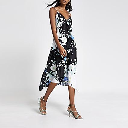 Black floral hanky hem midi slip dress