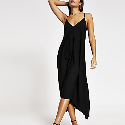 Black hanky hem midi slip dress