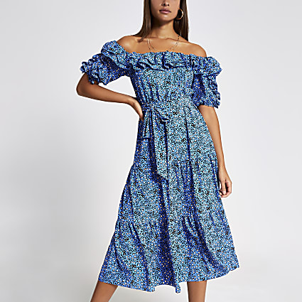 Blue floral bardot frill midi dress
