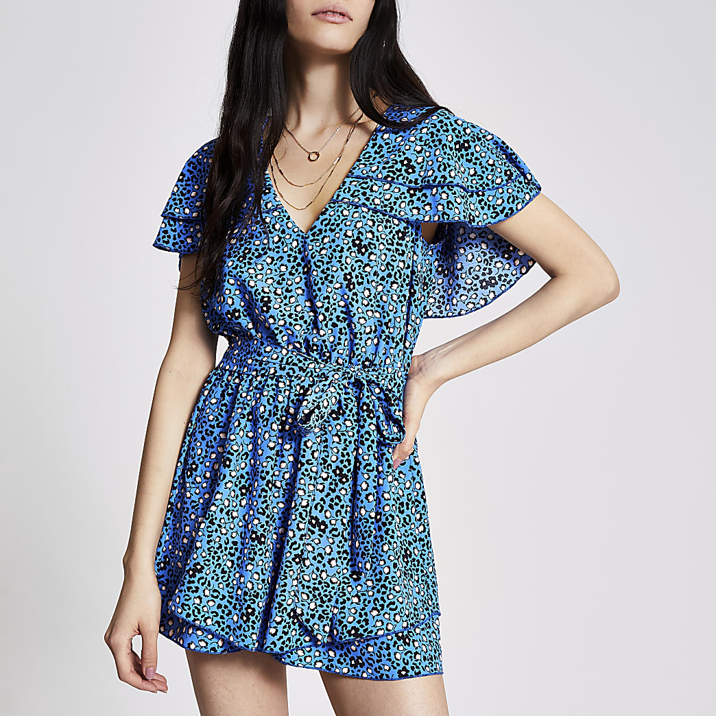 Blue floral frill tie belted playsuit
