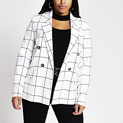 Plus white check double breasted blazer