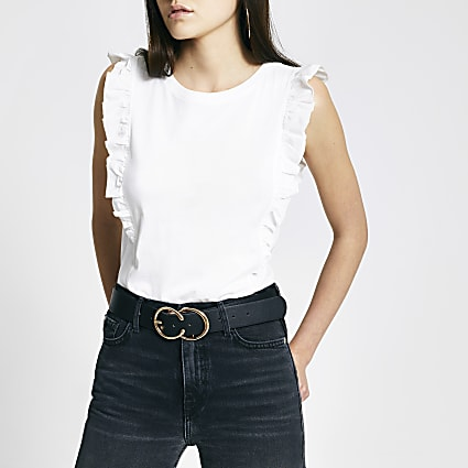 White poplin frill sleeveless T-shirt