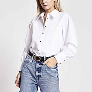 Petite – Weißes, langärmeliges Hemd