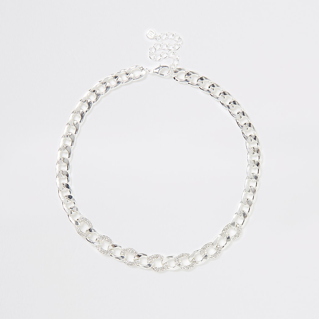 Silver chain diamante necklace