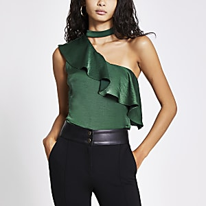 Green choker one sleeve frill top