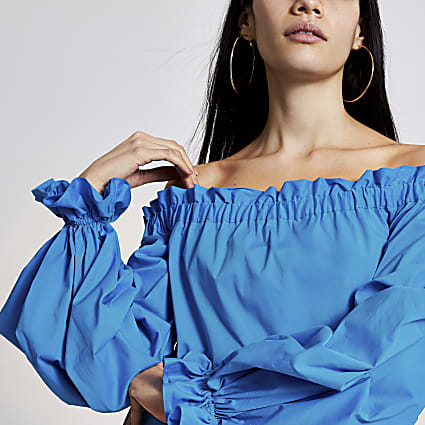 Blue ruched long sleeve bardot top