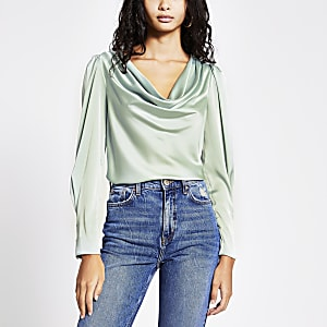 Light green cowl neck satin blouse