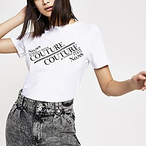Weißes Easy Fit T-Shirt mit Print und Strass