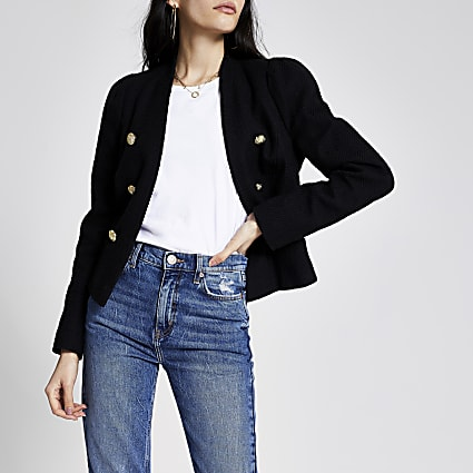Black textured puff sleeve blazer