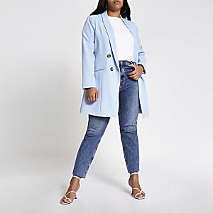 Plus– Zweireihiger Blazer in Hellblau