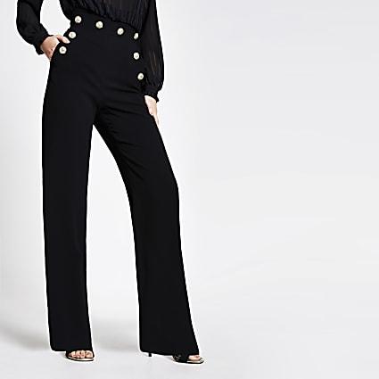 Black high button waist wide leg trousers