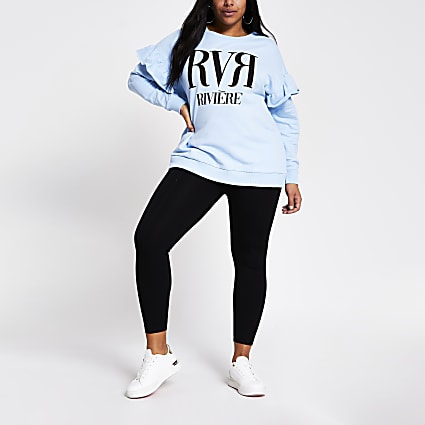 Plus blue RVR frill shoulder sweatshirt