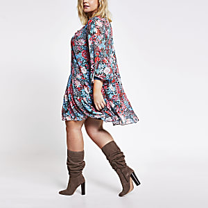 RI Plus - Blauwe gesmokte mini-jurk met bloemenprint en lange mouwen