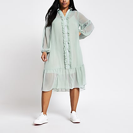 Plus light green frill front midi smock dress