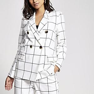 Petite – Zweireihiger Blazer in Weiß mit Karomuster