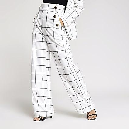 Petite white check wide leg trousers