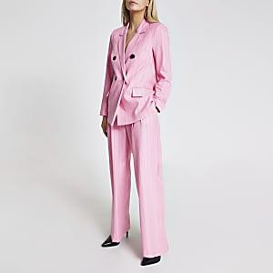 RI Petite - Roze gestreepte broek met ceintuur en wijde pijpen