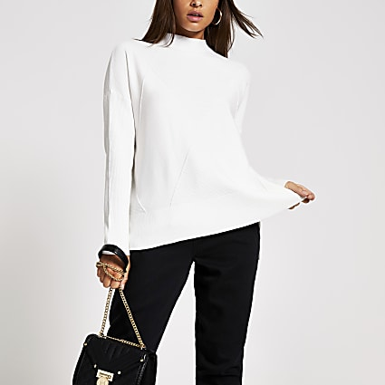 Cream textured high neck knitted jumper