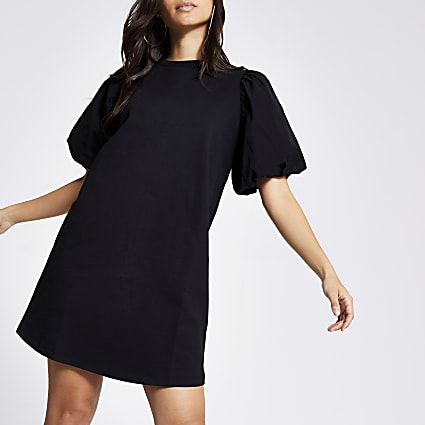 Petite black poplin puff sleeve T-shirt dress