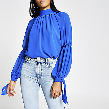 Blue long sleeve high neck chiffon blouse