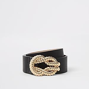Zwarte riem met gesp met touwpatroon en reliëf