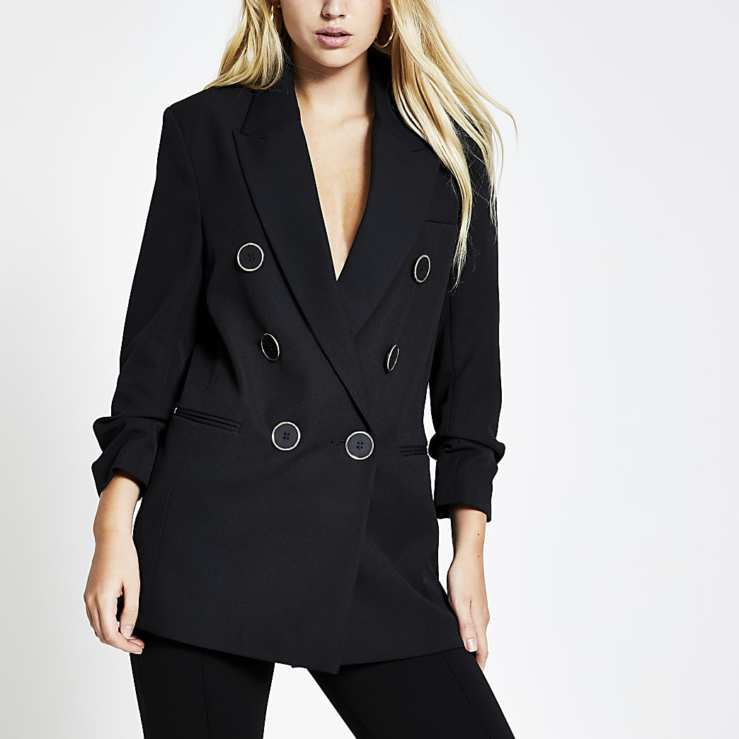 Black double breasted ruched sleeve blazer