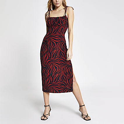 Brown printed ruched bodice midi slip dress