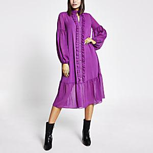 Paarse gesmokte midi-jurk met ruches en lange mouwen
