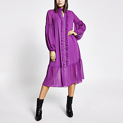 Purple frill long sleeve midi smock dress