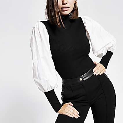 Black ribbed  high neck contrast sleeve top