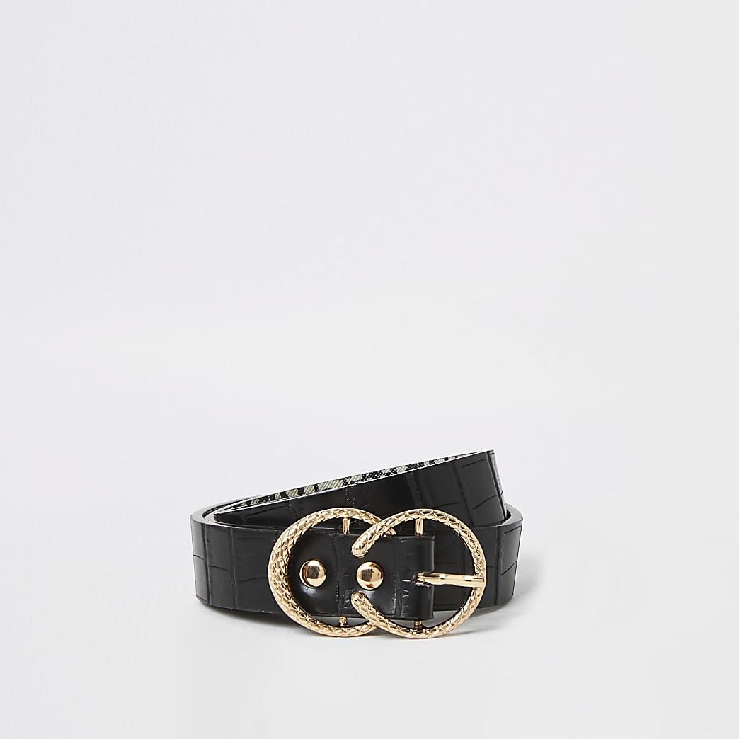 Black textured mini horseshoe buckle belt