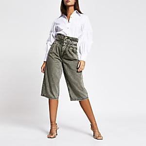 Jean jupe-culotte taille haute kaki