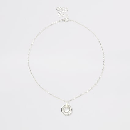 Silver colour double ring pendant necklace