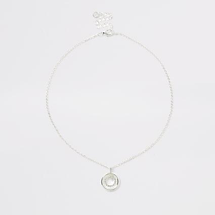Silver colour double ring pendant necklace