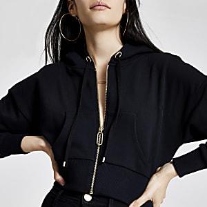 Zwarte cropped hoodie met rits voor