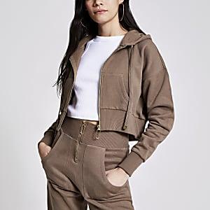 Bruine cropped hoodie met rits