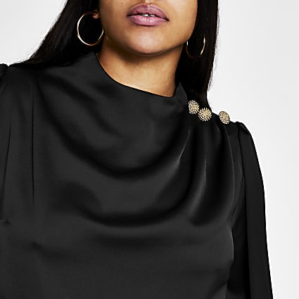 Plus black button shoulder satin blouse