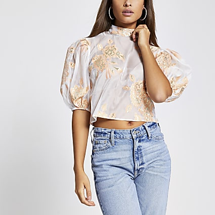 Orange floral organza top