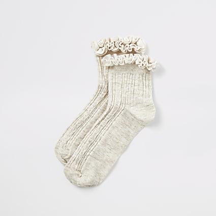 Cream velvet frill cable knitted socks