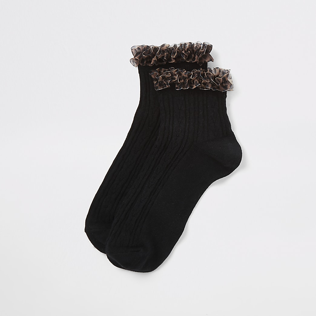 Black leopard print frill cable knit socks